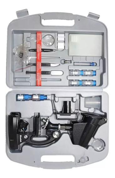Microscópio 300x 600x E 1200x Bluetek 2xt Com 100 Acessorios