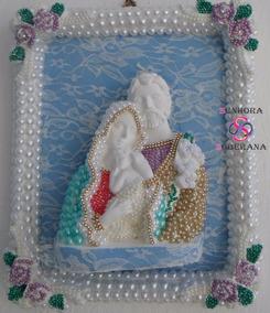 Escultura / Quadro 3d Sagrada Família Em Perolas