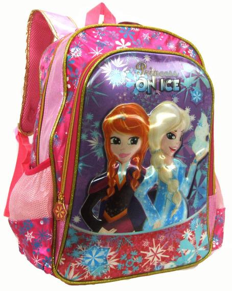 Mochila Escolar Infantil Feminina Vozz Princess On Ice 3d