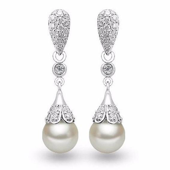 Aretes Baño De Plata 925 Con Perlas Antiguo