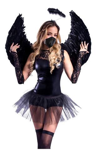 Disfraz De Angel Negro Mujer Pia Sexy Tienda Oficial