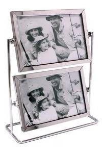 Porta Retrato Alumínio 4 Fotos Duplo Giratório 10x15cm
