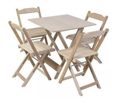 Jogo De Mesa Bar 70x70 Com 4 Cadeiras Dobrável Sem Pintura