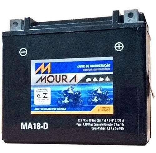 Bateria Moura Moto 12v 18ah Ma18d Harley Fatboy Dyna Softail