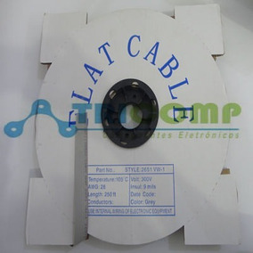 Flat Cable 10 Vias 1.27mm 28awg Cinza Rolo C/ 76,5mts