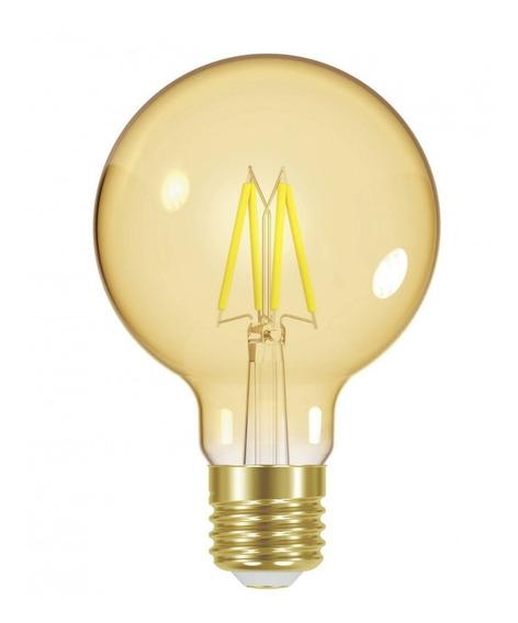 5 Lâmpadas G80 Douradas Retrô/vintage - Filamento Led 8 Watt