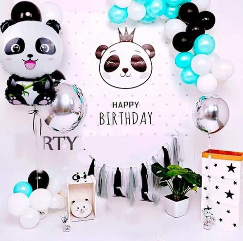 Kit Globos Decoración Oso Panda Fiesta Cumpleaños X12 Inv