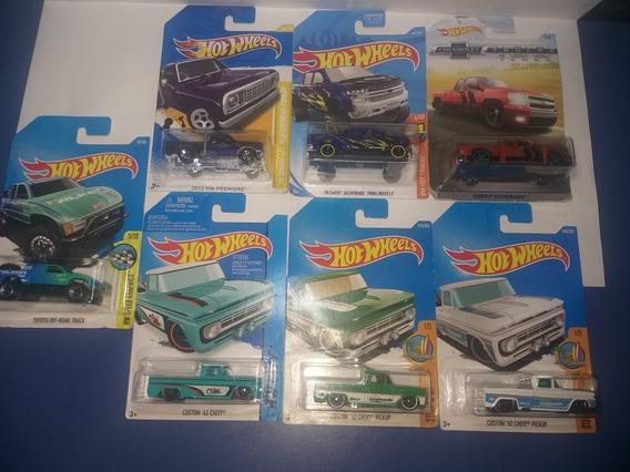 Lote Com 7 Pickup Diferentes, Tops Lacradas Hot Wheels 1/64