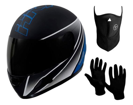 Casco Moto Integral Vertigo Hk7 + Mascara + Guantes Sti Full