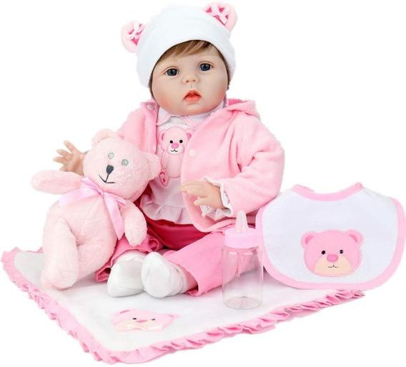 Bebes Reborn Vinil Hermosa Bebe Aori Osito Blanca 55 Cm