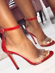 Sandália Clássica Vermelha Com Tira Transparente , 33 Ao 39