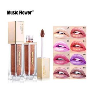 Labiales Metálicos Gloss Duración Music Flower 1pz Envio
