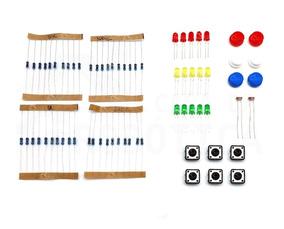 Kit Eletrônica Resistores 220ohms 1k 10k 100k Botões Led Ldr