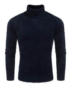 Hombres Moda Cuello Alto Manga Larga Borrosa Suéter