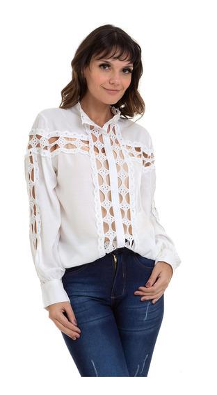 Camisa Kinara Cetim Detalhes Em Renda Vazada Branca