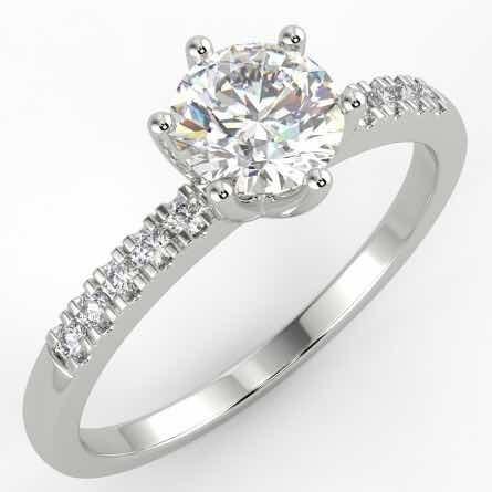 Anillo De Compromiso De Diamante De Mina Certificado 0.6 Ct