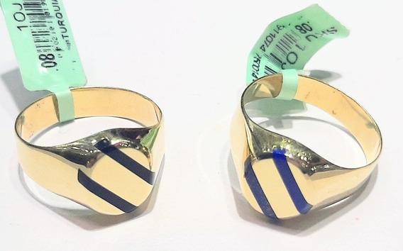 Anillo De Sello Circular Oro 10 K Esmaltado + Obsequio