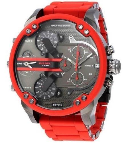 Reloj Diesel Dz7370 Mr Daddy 2.0 Gunmetal Dial Red Silicone