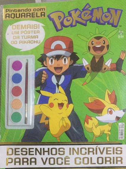 Kit 10 Revistas Pintando Com Aquarela Pokemon + Poster