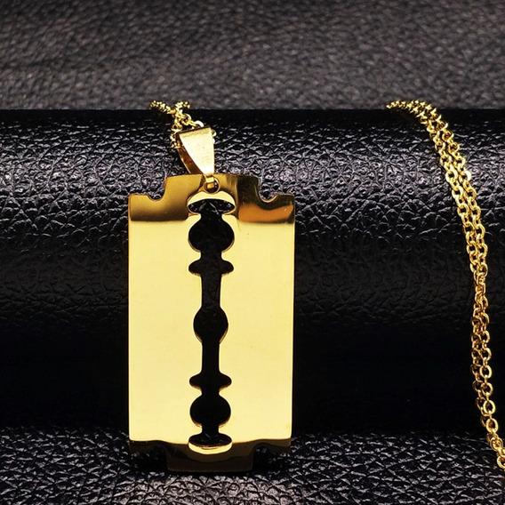 Colar Pingente Lâmina Wilkinson Jóia Em Aço Inox Dourado