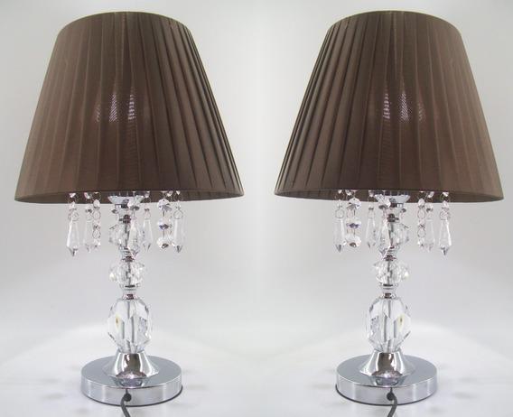 Par De Abajur Viena Cristal Cabeceira Quarto Casal 46 Cm