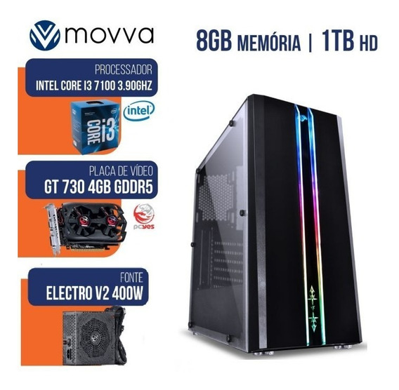 Computador Gamer Mvx3 Intel I3 7100 3.9ghz 7ª Ger Memoria 8g