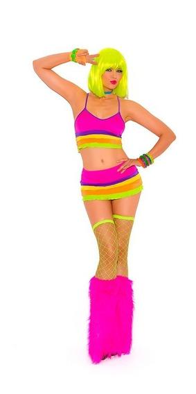 Coordinado De Licra Neon 2004 Gogo Dancer Lenceria Disfraz