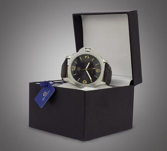 Relógio Com Pulseira De Couro Preta Masculino Luxo