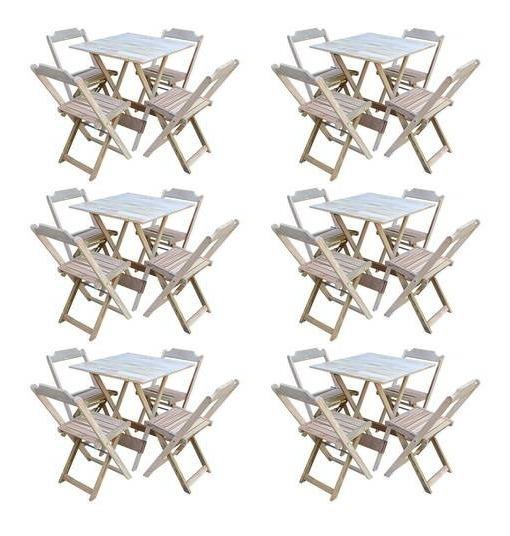 Kit 6 Conjuntos De Mesa Com 4 Cadeiras De Madeira Dobravel 70x70 Sem Pintura/crua