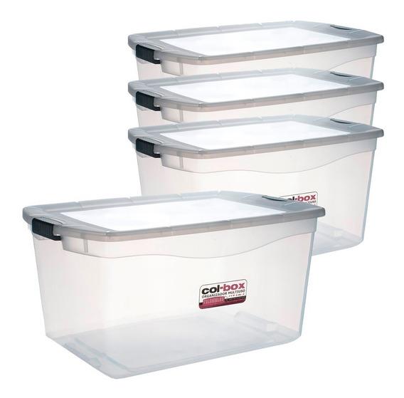 Caja Organizador Plastico Apilable Tapa Taper 68 Litros X 4 Colombraro