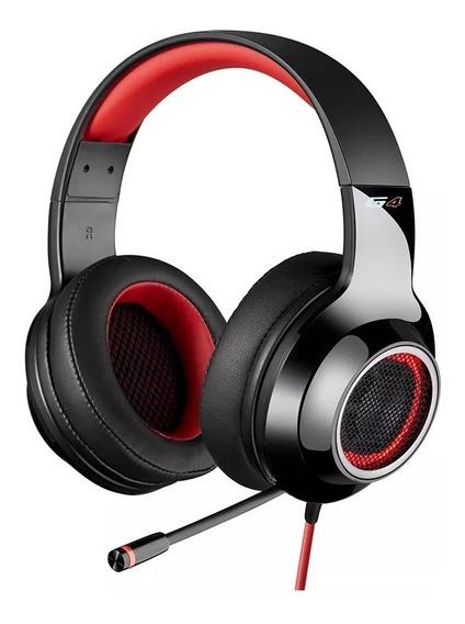 Headset Gamer 7.1 Edifier G4 - Over-ear - Preto-vermelho