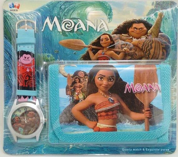Relógio Analógico Moana + Carteira