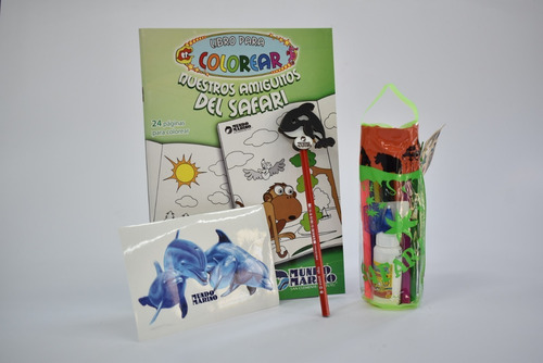 Libro P/pintar- Tubo Escolar- Lapiz- Calco Delfines M Marino
