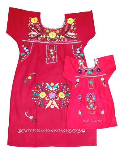 Vestido Mexicano Tal Mãe Tal Filha - Curto T6 Bordado A Mão