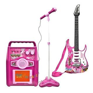 Guitarra Electrica Con Cuerdas Rock Amplificador Y Microfono