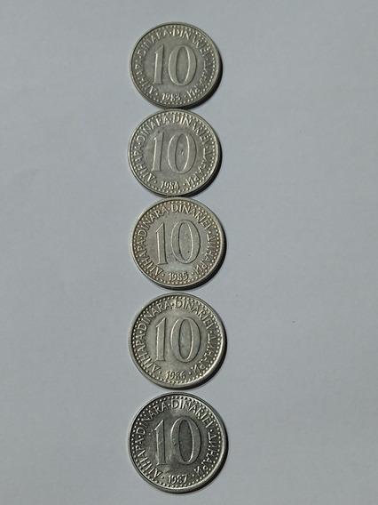 Lote Monedas Yugoslavia,10 Dinara,años,1983-84-85-86-87