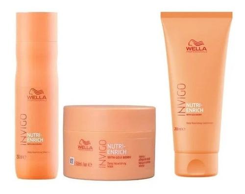 Wella Enrich Kit Nutrição Mascara +condicionador + Shampoo