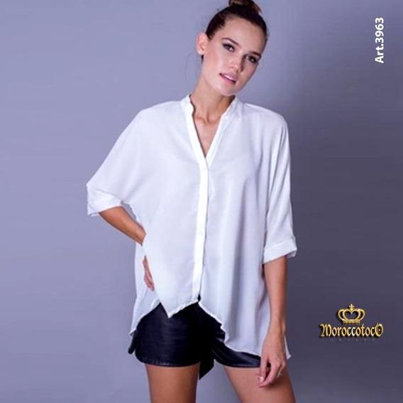 Camisa Blusa Gasa Texturada Mangas 3/4 Art 3963