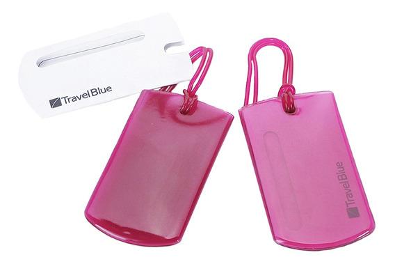 Tag Para Mala Bagagem Em Gel Kit 2 Unidades Travel Blue Rosa