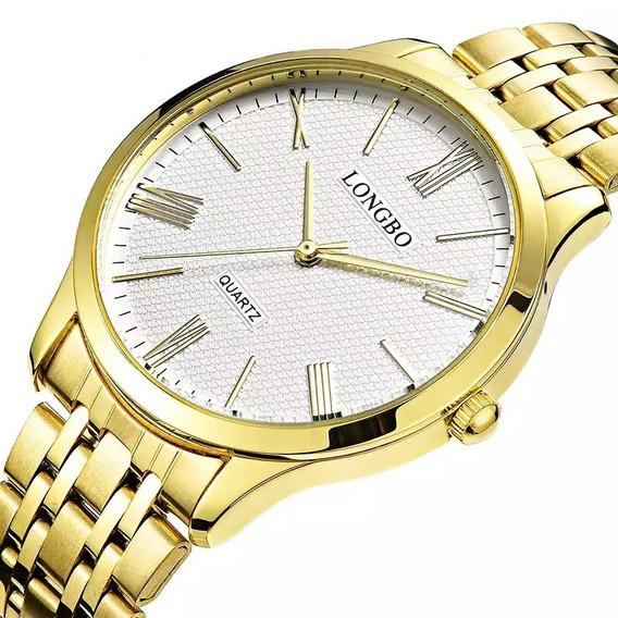 Relógio Longbo Masculino Dourado Clássico Luxo Original