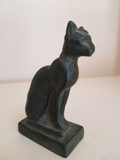 Figura De Dios Gato Bastet Caliza Maciza Traída De Egipto