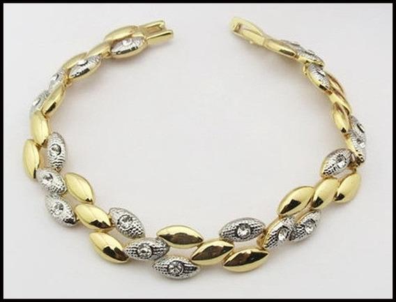 Pulseira Feminina Banhada Ouro Amarelo 18k+cristais Stellux
