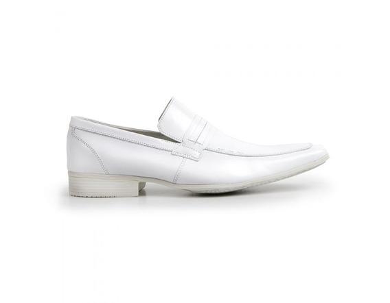 Sapato Masculino Branco Couro Legítimo Solado De Borracha