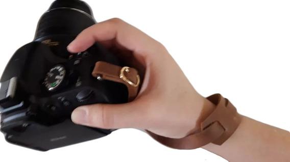 Alça De Mão P/ Câmera Dslr Couro Legitimo Slim Hand Strap