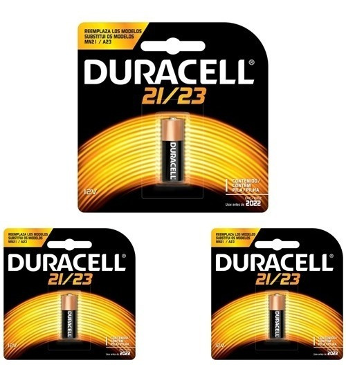 3 Baterias Duracell 21/23 Alcalina 12volts Alarmes/campainha