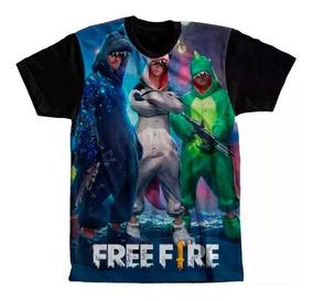 Camisa Camiseta Full Free Fire Skins E Dino Unissex Promoção