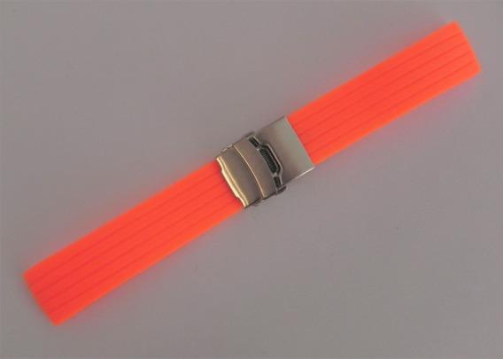 Cintas Para Reloj En Silicón Naranja Fluorescente