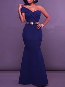 Vestido De Fiesta Azul Marino Glam Envy