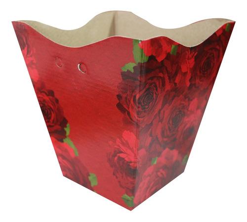 Imagem 1 de 1 de Cachepot Vintage Papel Grande Estampado Red Bloom Com 10