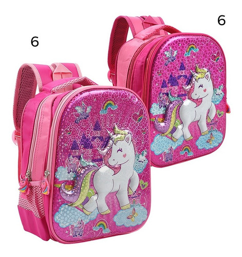 Mochila Trendy Unicornio Jardin 12p Rigida Relieve 3d